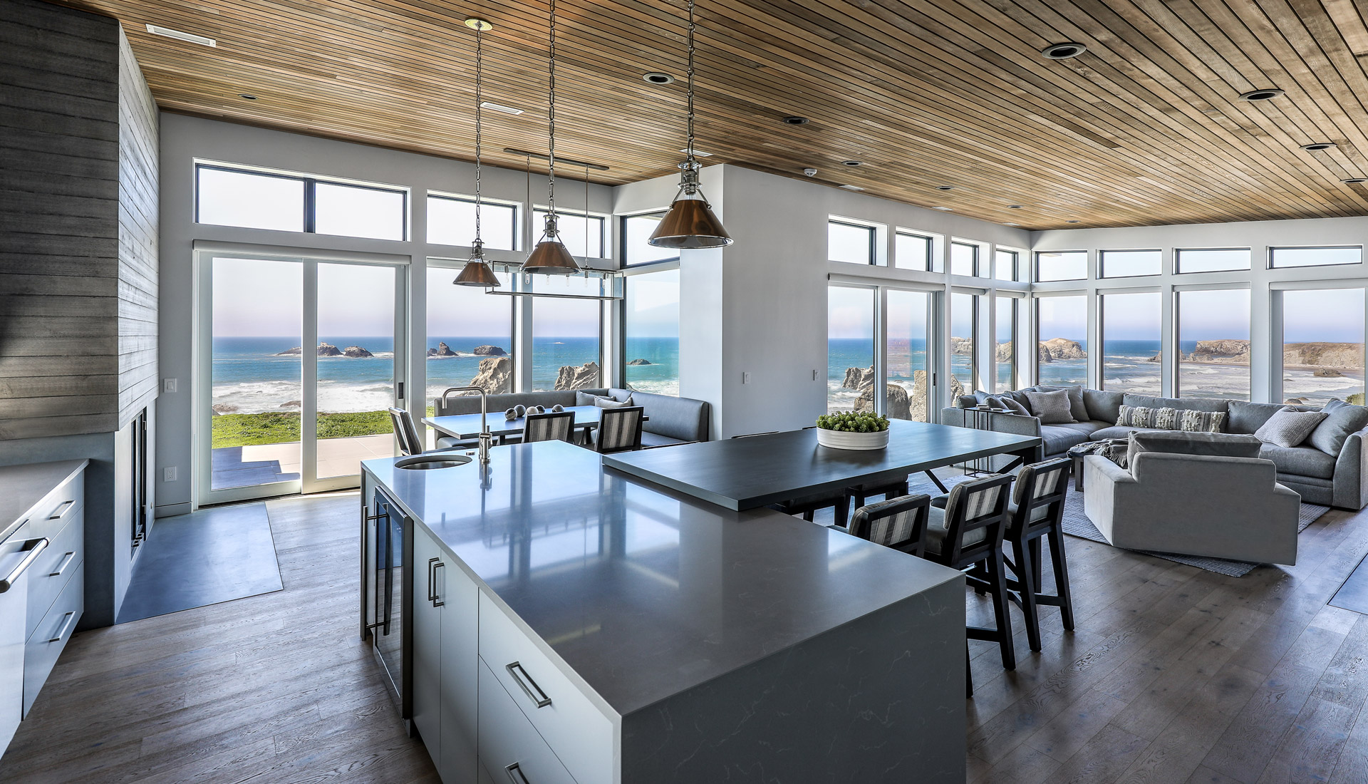 Bandon Kitchen From Island Full Ocean